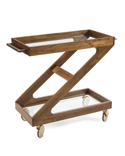 Picture of ROLLING WOOD BAR CART
