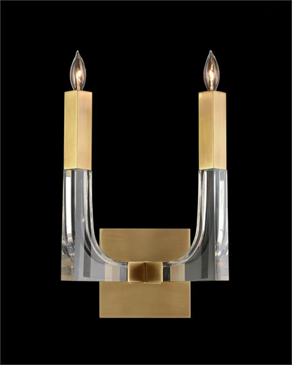 Picture of ACRYLIC AND BRASS TWO-LIGHT WALL SCONCE