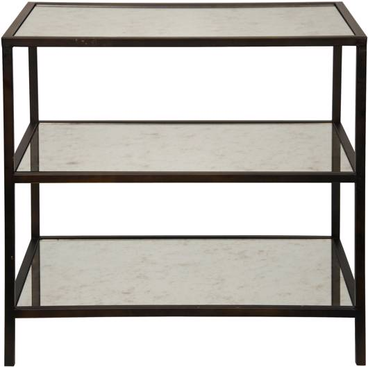 Picture of 3 TIER SIDE TABLE WITH ANTIQUED MIRROR, BLACK METAL