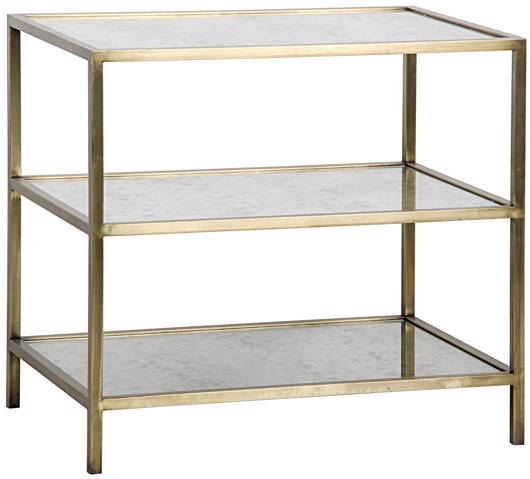 Picture of 3 TIER SIDE TABLE, ANTIQUE BRASS, METAL AND ANTIQUE MIRROR