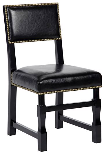 Picture of ABADON SIDE CHAIR W/LEATHER, DISTRESSED BLACK